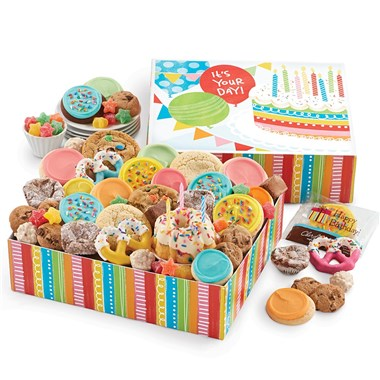 Cheryl's Cookies Birthday In A Box Cookie And Bakery Gift Set With Birthday Cake And Candles